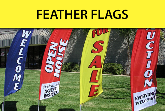 Custom Feather Flags for business, open house, for sale, marketing and more