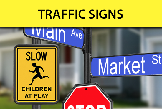Custom Traffic Signs - street, caution, speed limit, stop, yield, traffic, school zone, road work, crossing, signs and panels